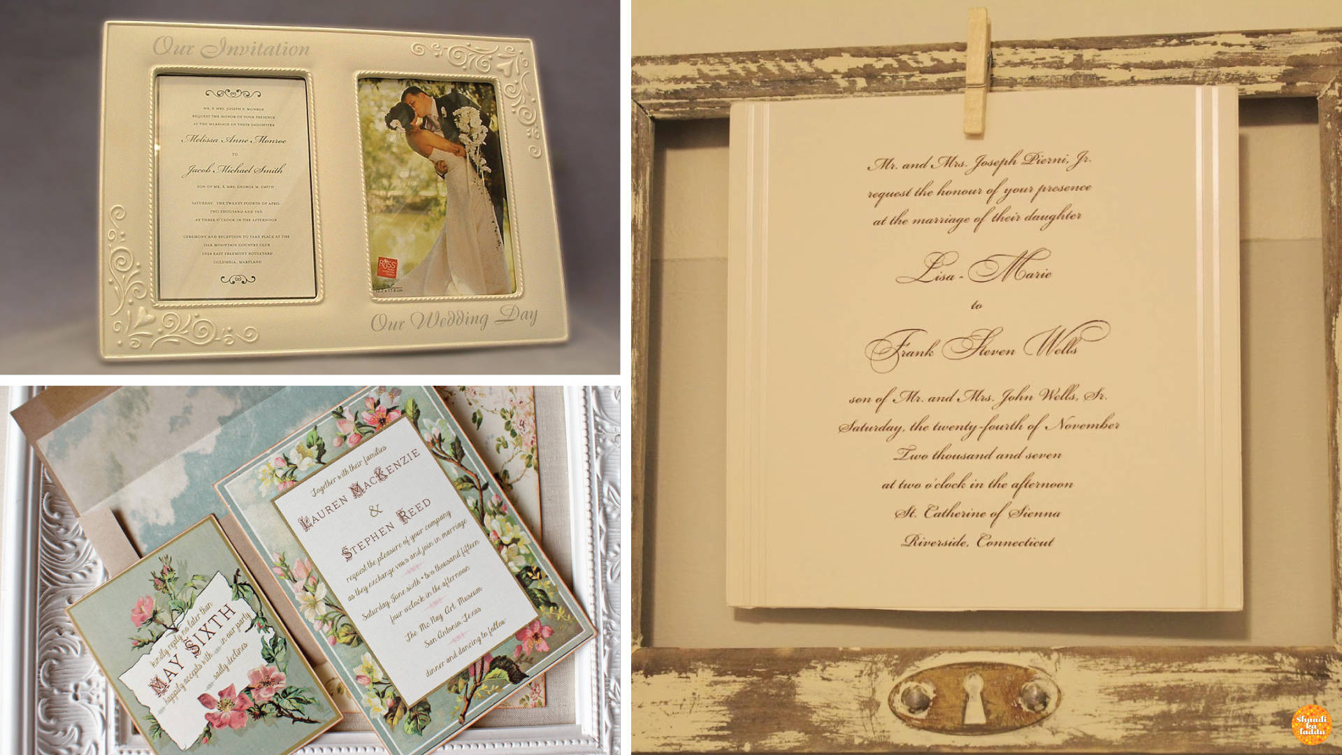 Re-usable photoframes as wedding invites for your guests.
