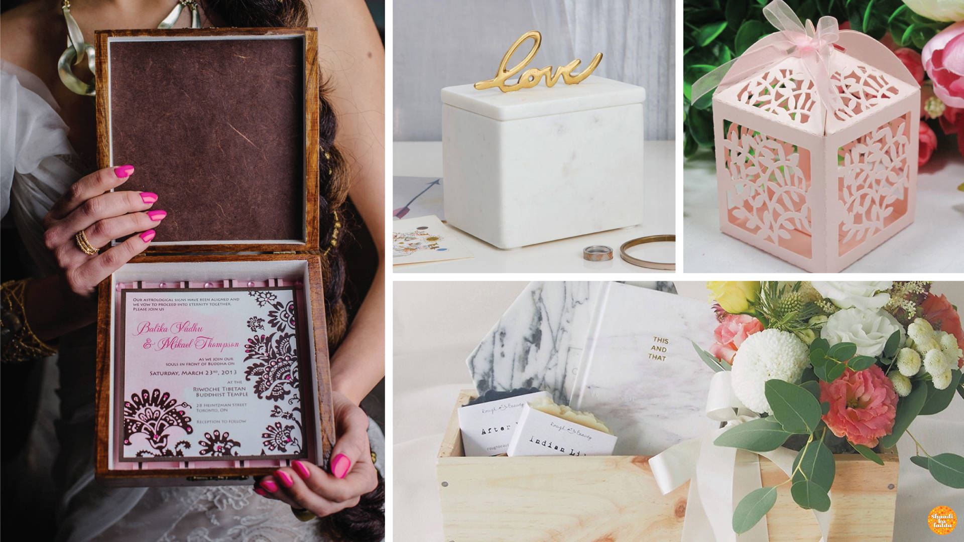 Re-usable packaging for guests as keepsakes.
