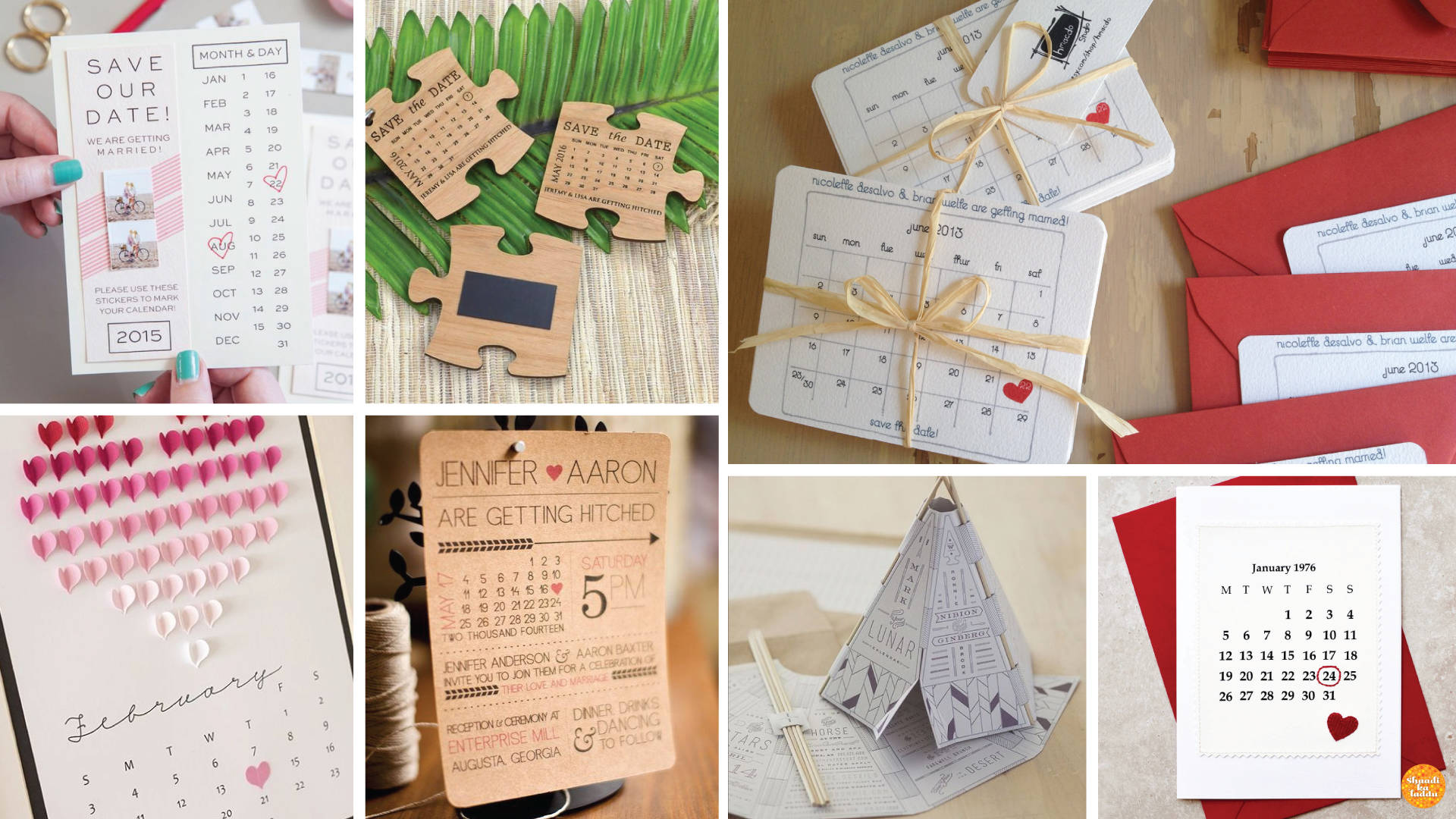 Personalized Calendar Wedding Invitations for all year round celebrations.