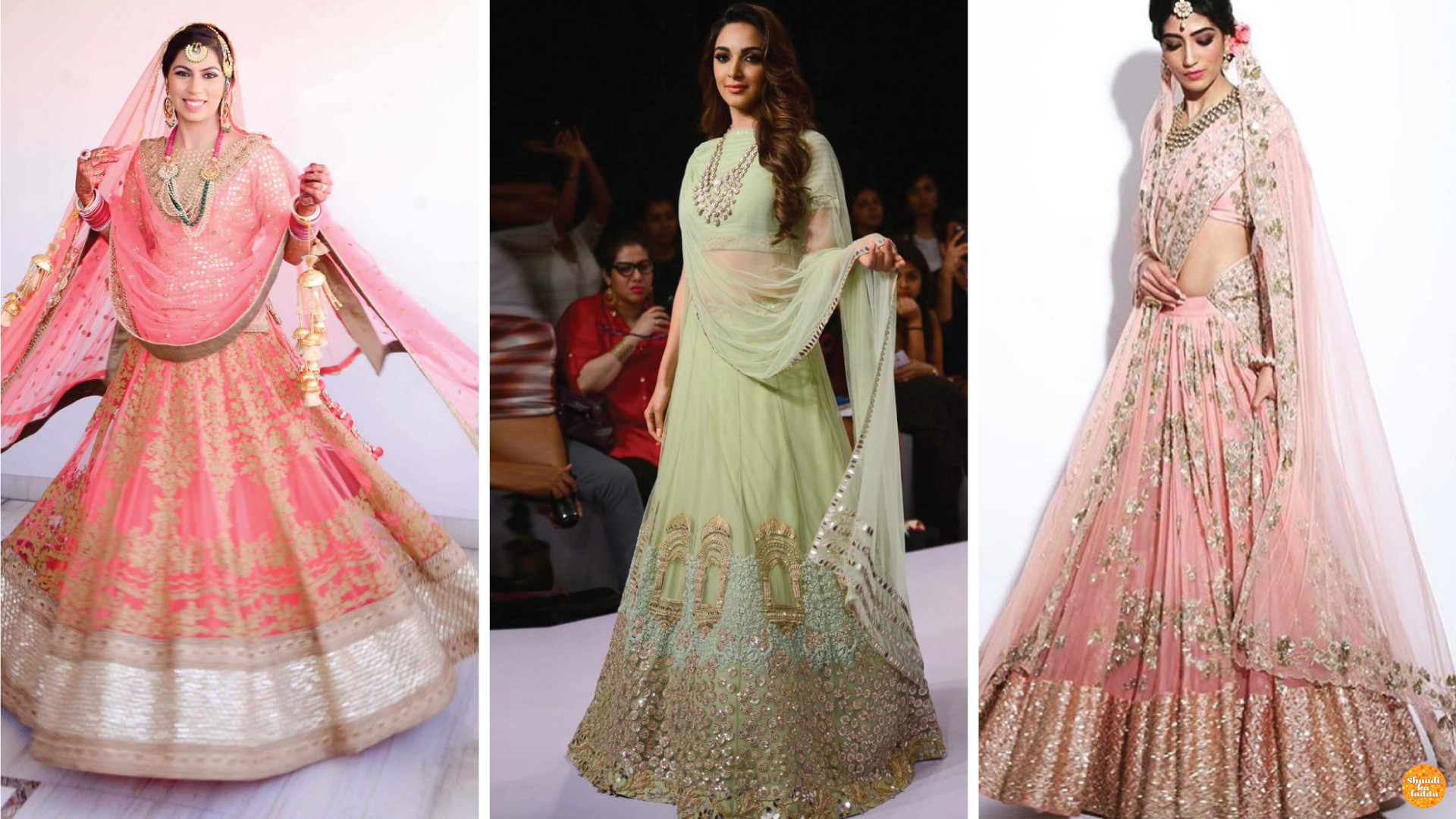 Designer pastel colored bridal lehengas