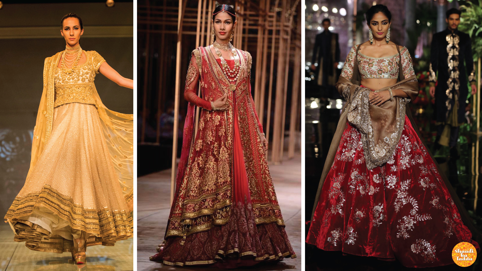 Designer bridal collection lehengas in ivory, red and silver