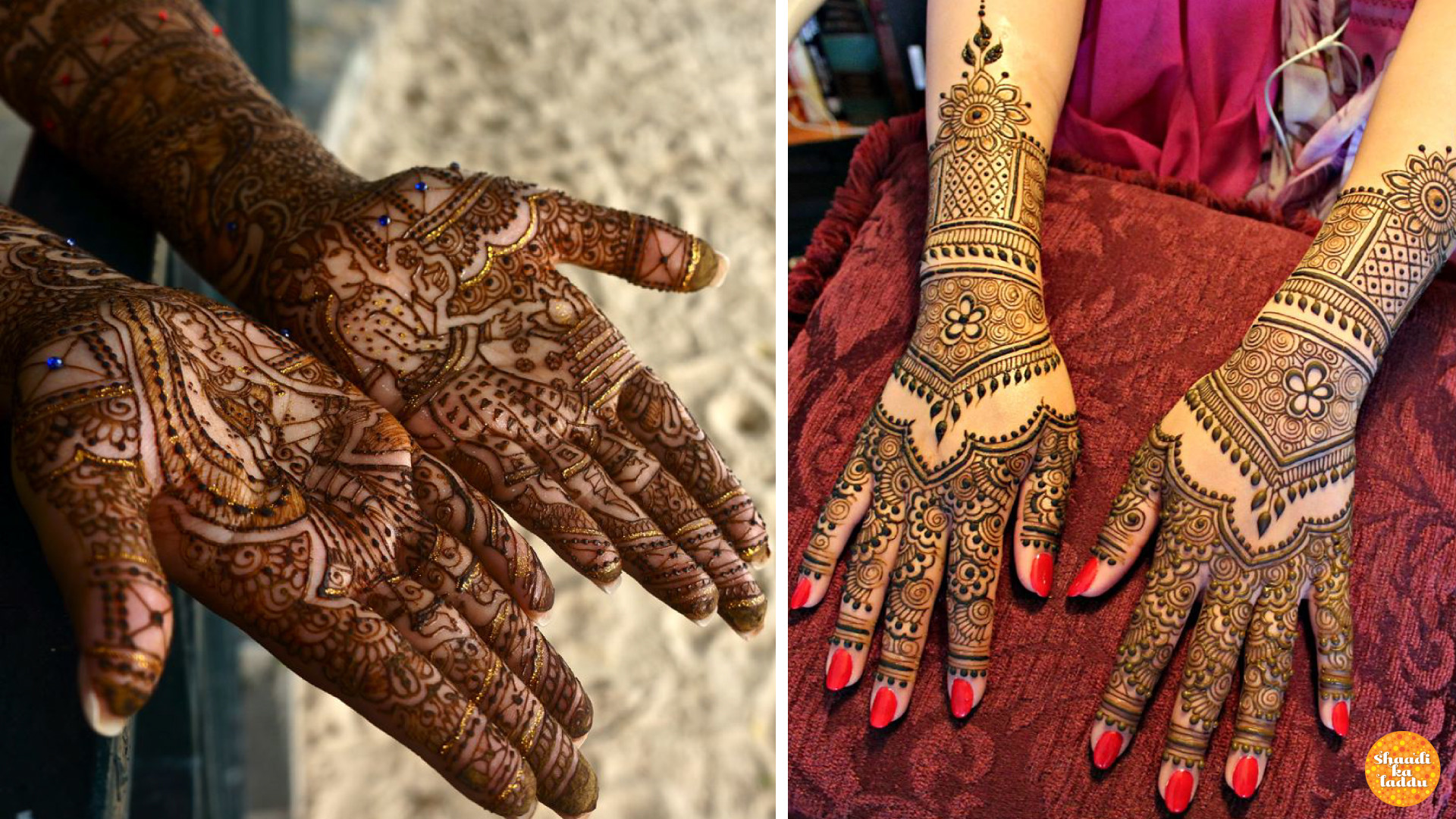 Bridal batik mehndi design with pictures of dulha and dulhan