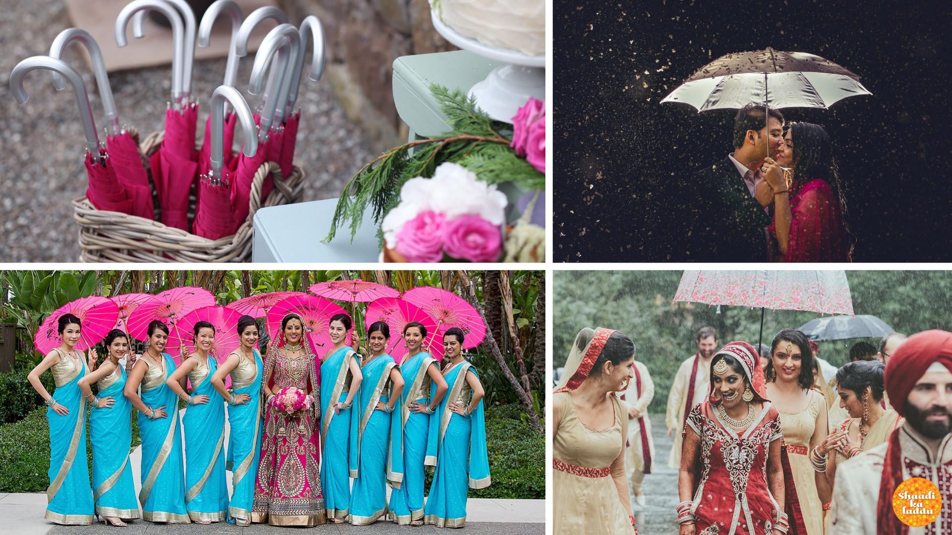 Umbrellas, monsoon wedding photoshoots and bride in rain
