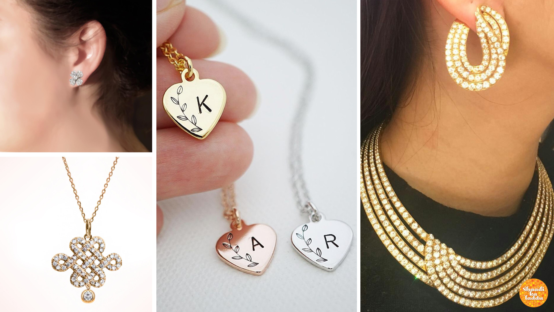 Engraved pendants and diamond pendants, earrings