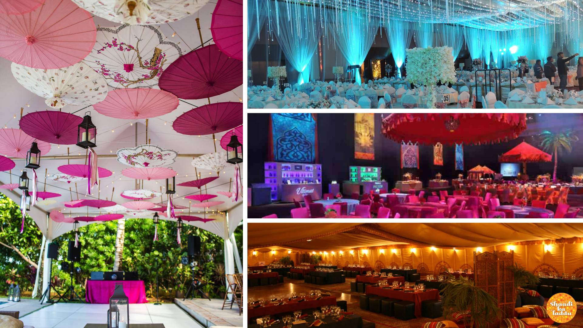 Wedding decor ideas for monsoon theme wedding using umbrellas and light effects