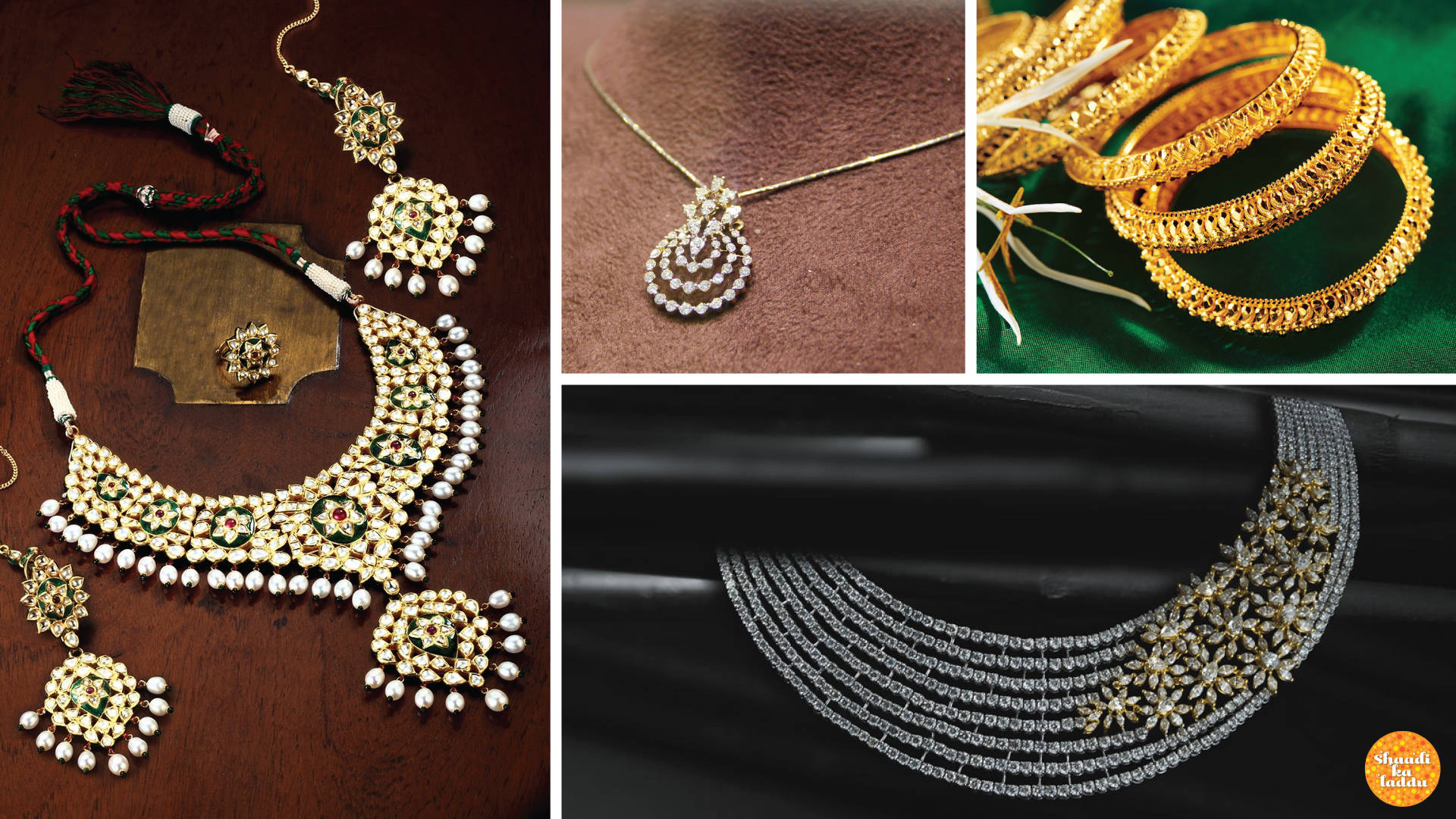 Range of Kundan, diamond, gold necklaces and bangles for bride