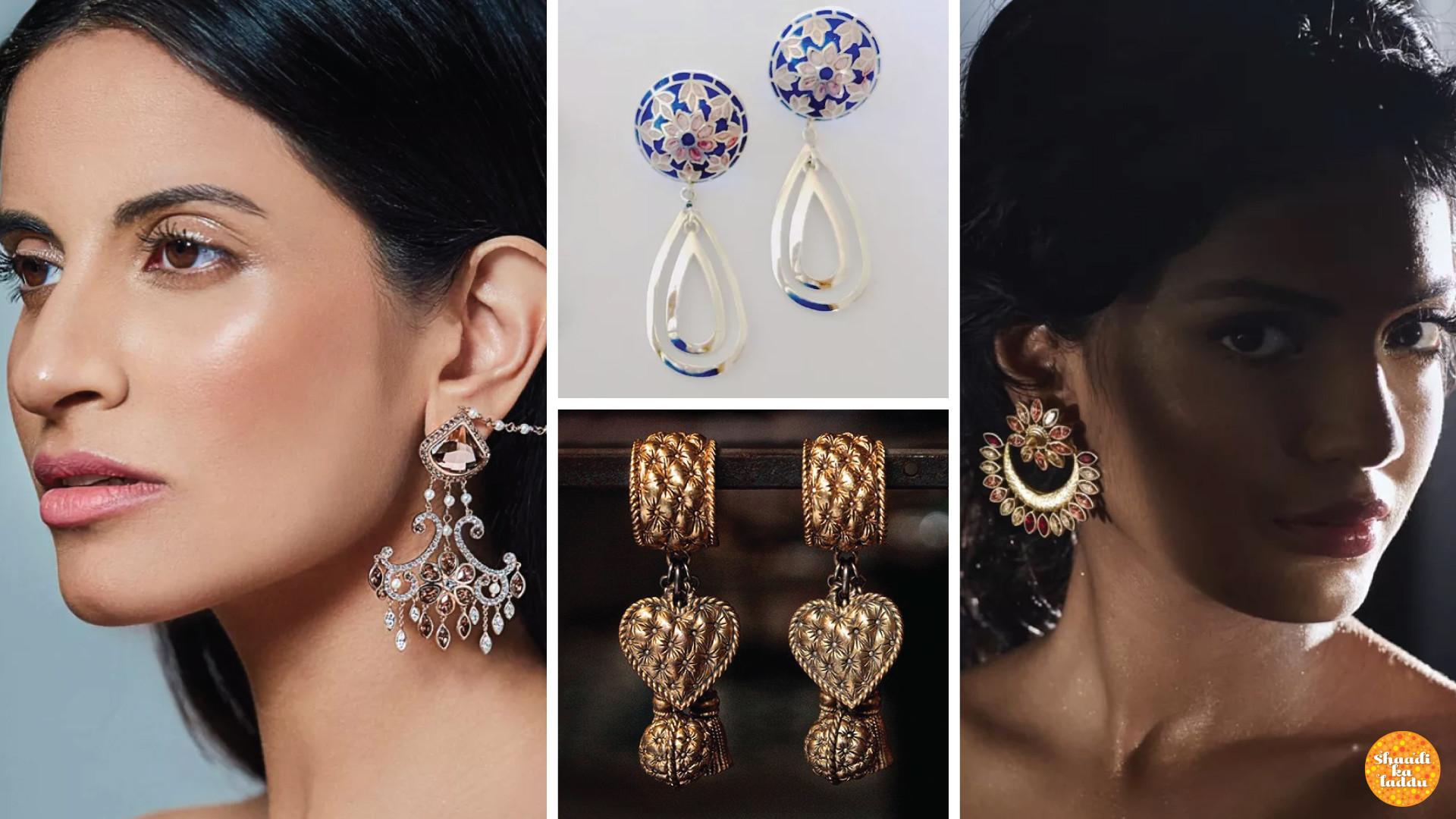 Drop earrings in heavy variety