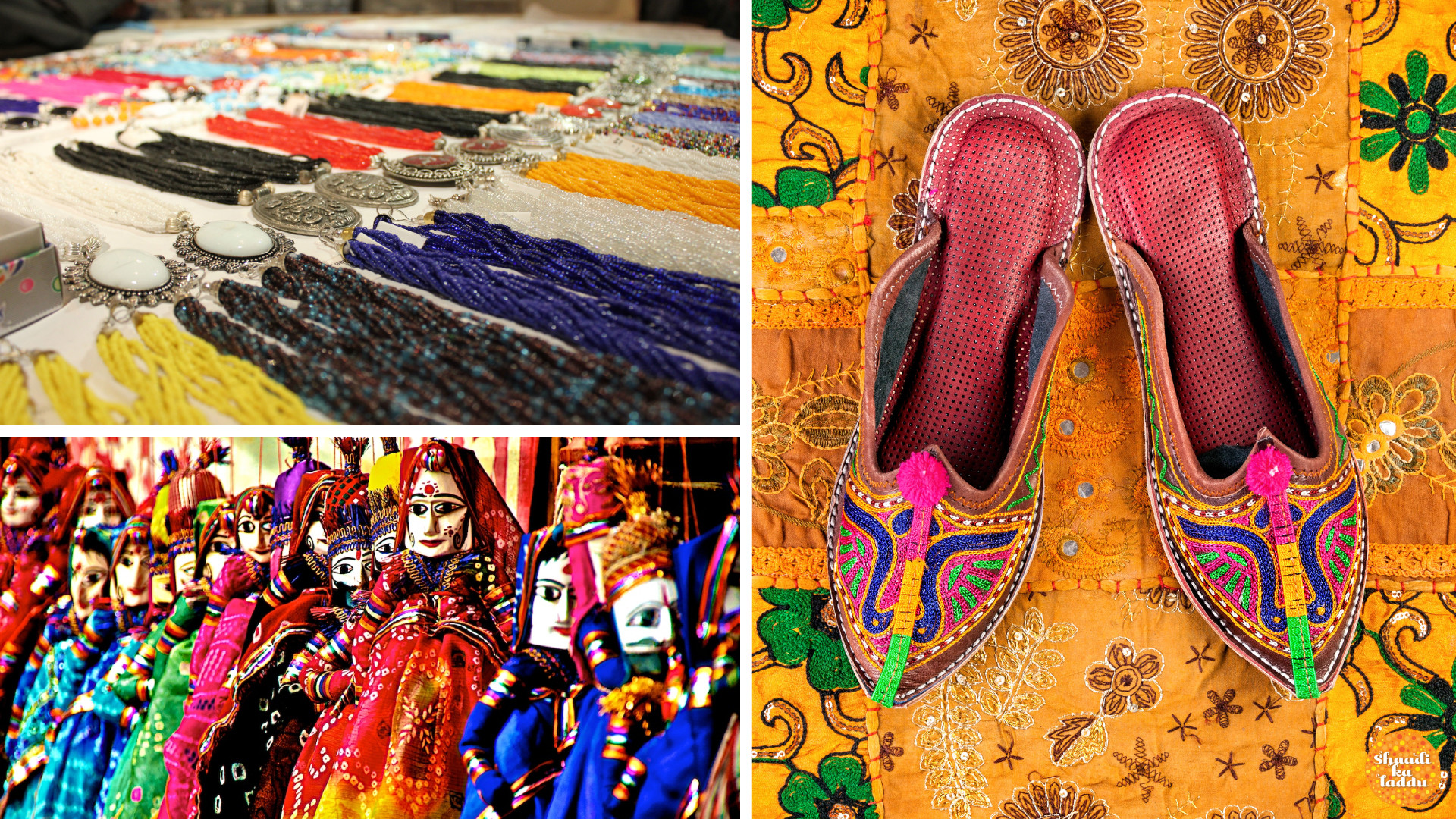 Jaipur embroidery, silver jewellery, gemstones and traditional shoes