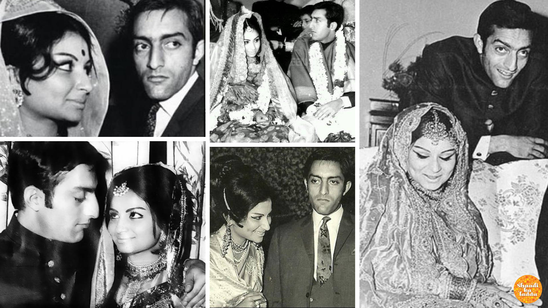 Wedding pictures of Mansoor Ali Khan Pataudi and Sharmila Tagore
