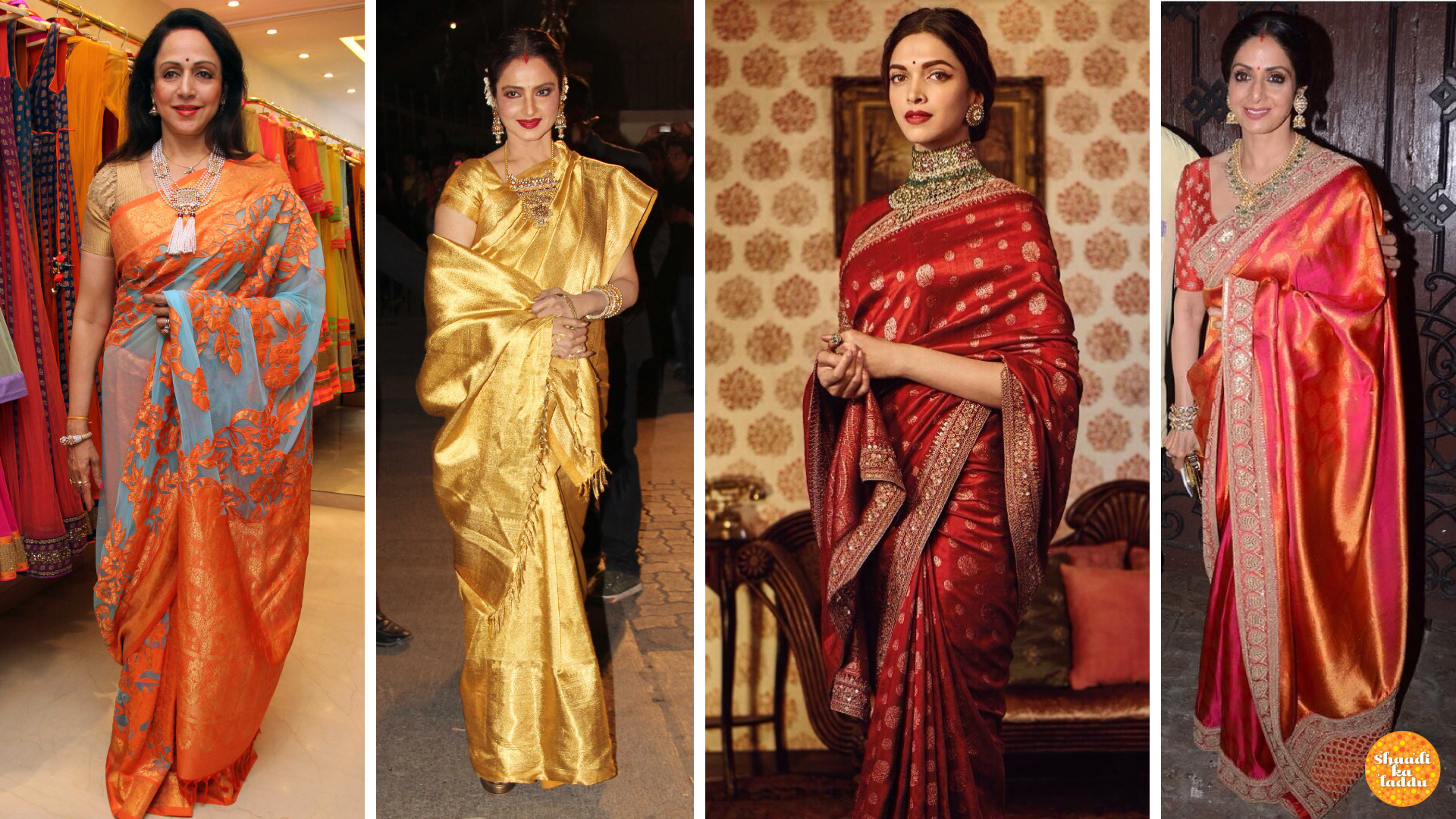 Hema Malini, Rekha, Sridevi, in heavy elegant silk sarees