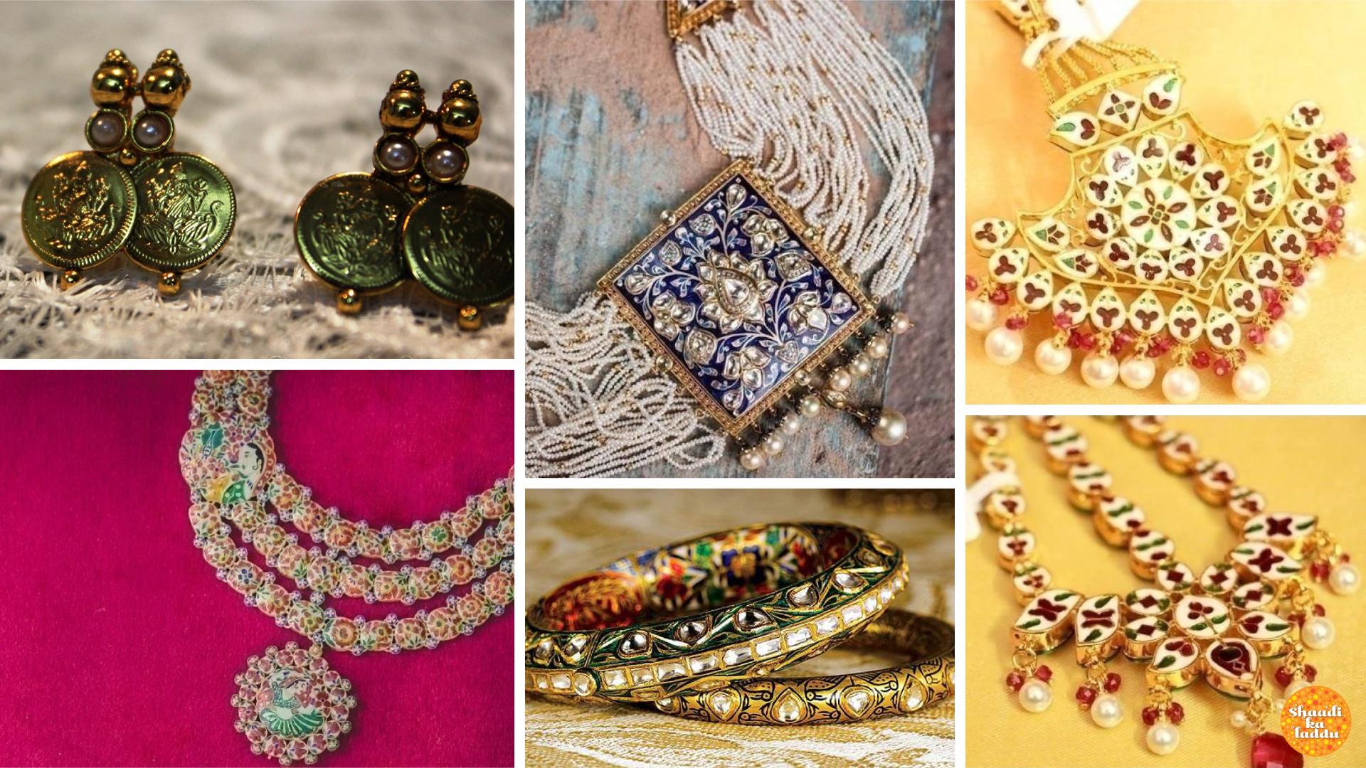Meenakari art of Jaipur, meenakari bangles, pendant studded neckpiece