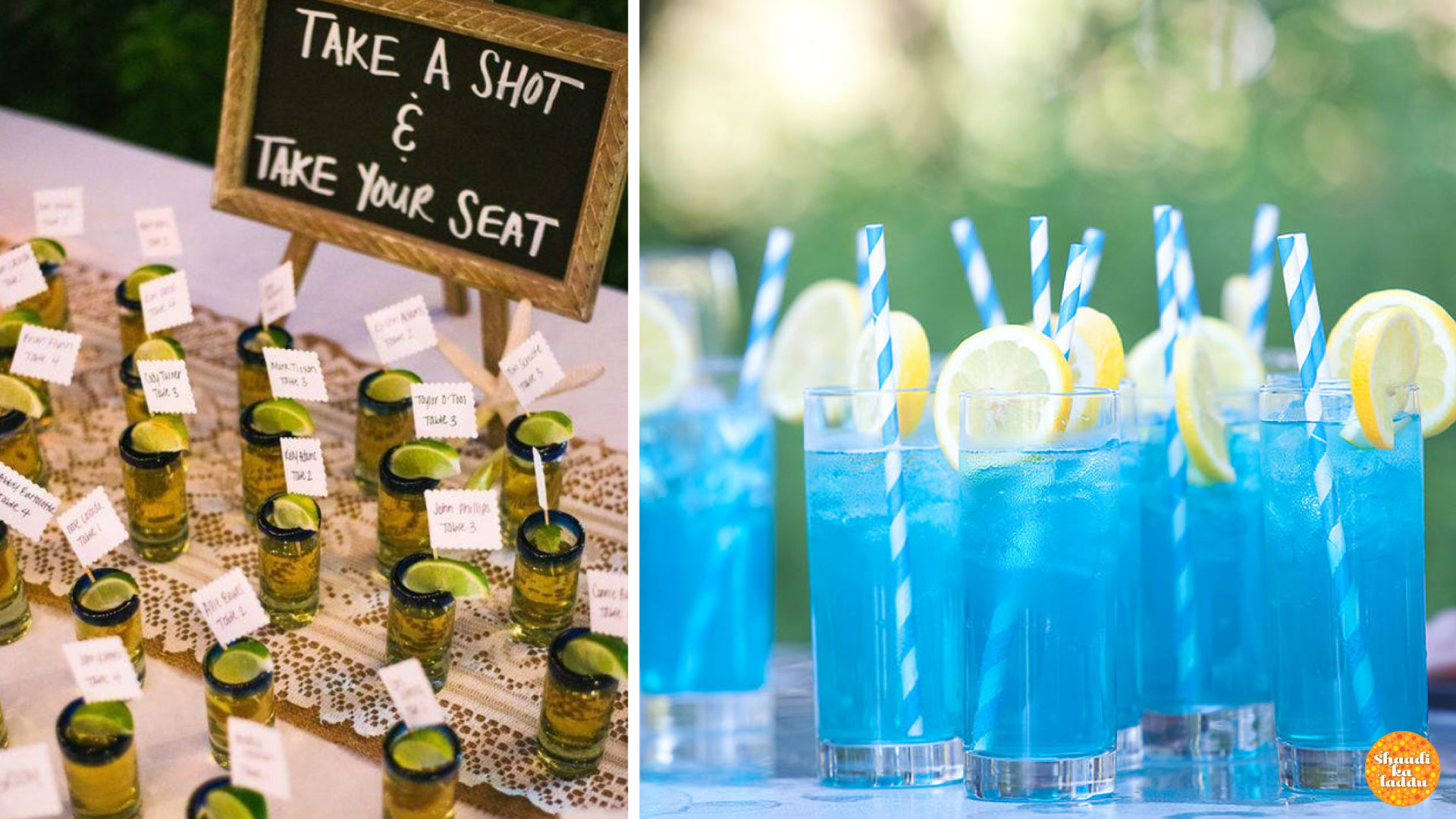 Aesthetically served low alcohol shots, cocktails like Blue Lagoon also adds to the wedding decor