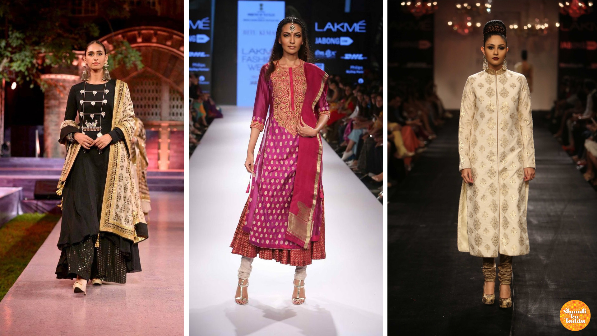 Kurtas with golden zari work or any other embroidery, works well for different wedding ceremonies