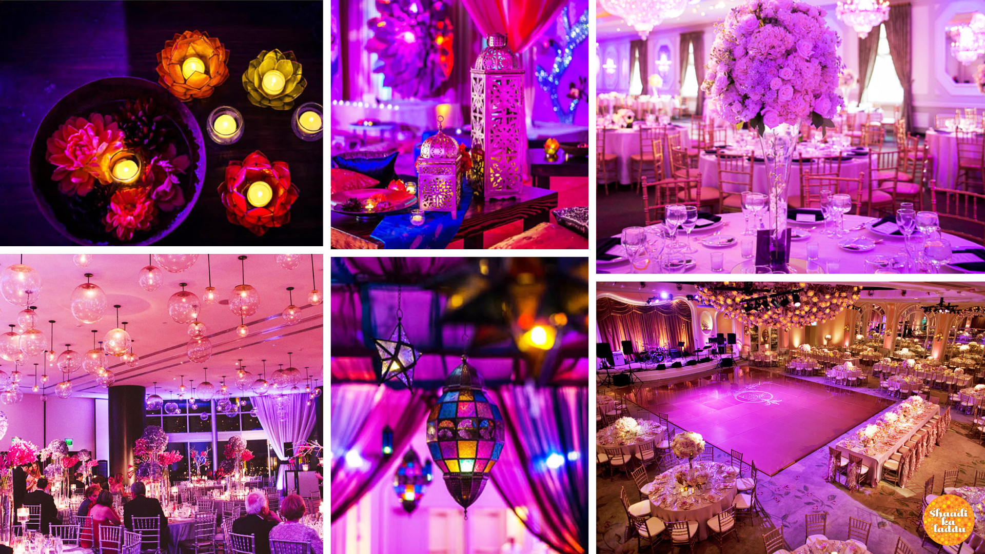 beautiful and creative usage of different schemes of light for wedding decoration with chick lamps and candles