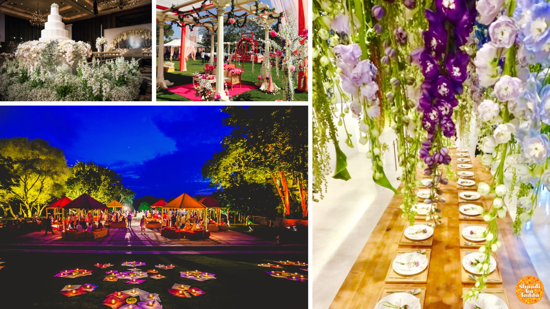 beautiful and colorful wedding decorations with help of different flowers and arrangements by wedding planner