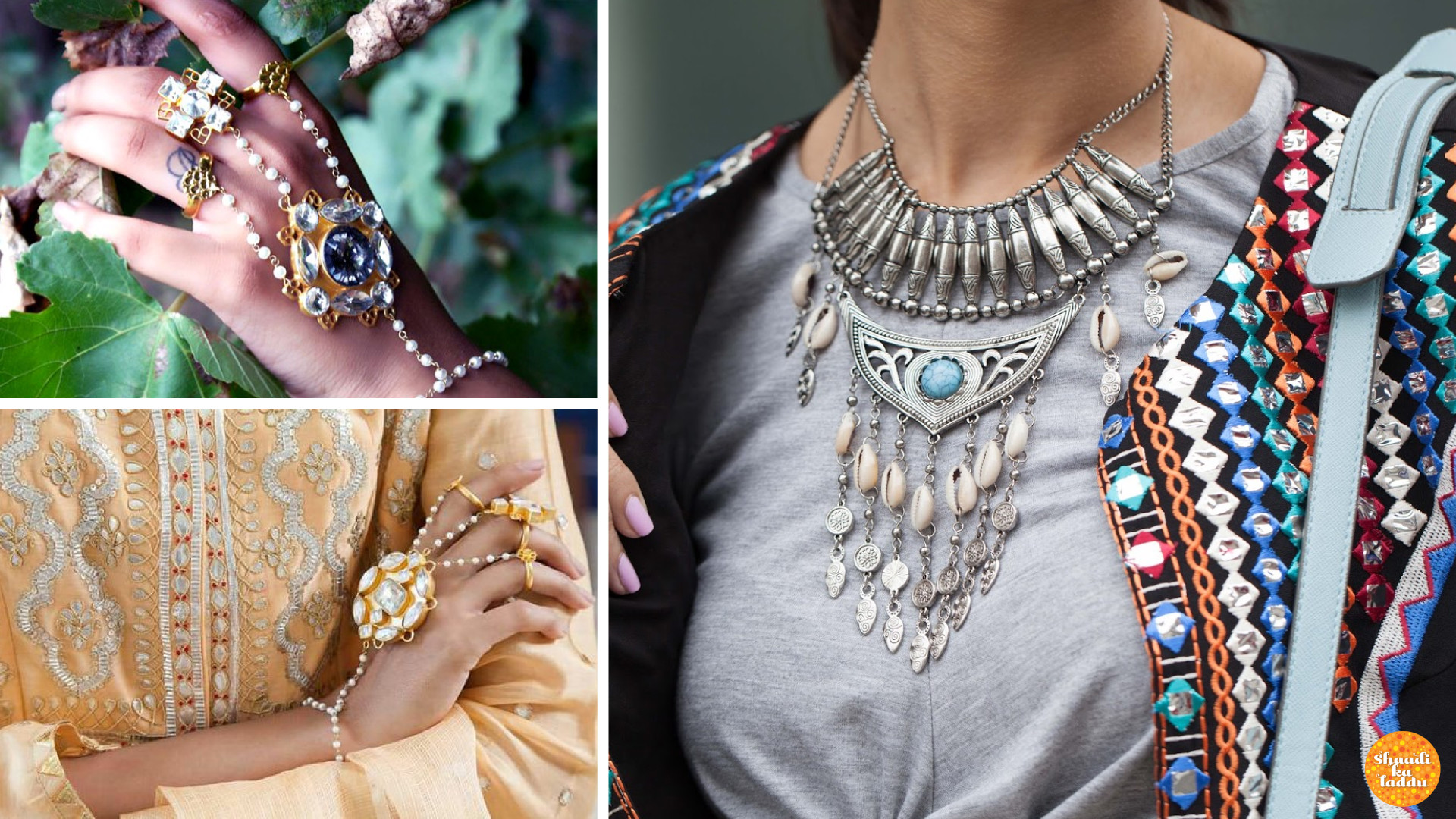 Conch shell made neck piece and designer hath-fool, rings and alternative jewellery