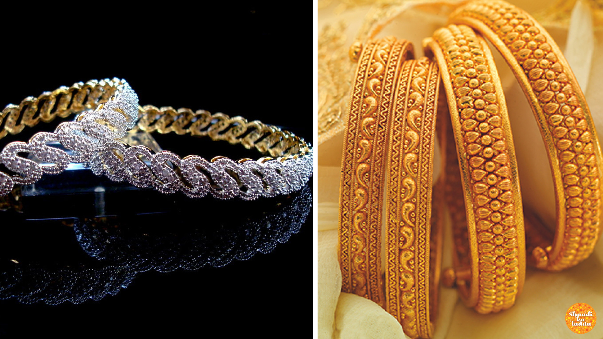 Designer Diamond and Gold Bangles