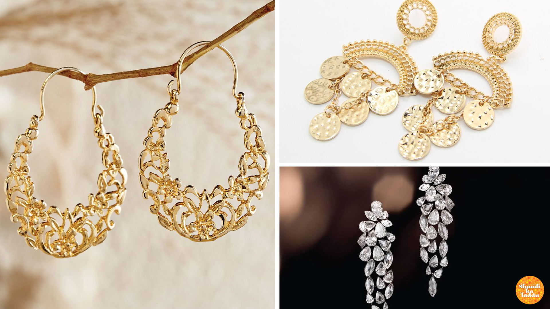 Heavy variety of danglers, chandeliers, and hoops earrings