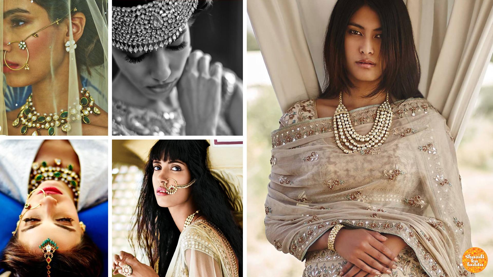 Models wearing kundan neck piece, gemstone studded nose ring, trendy Jaipur thewa chokers