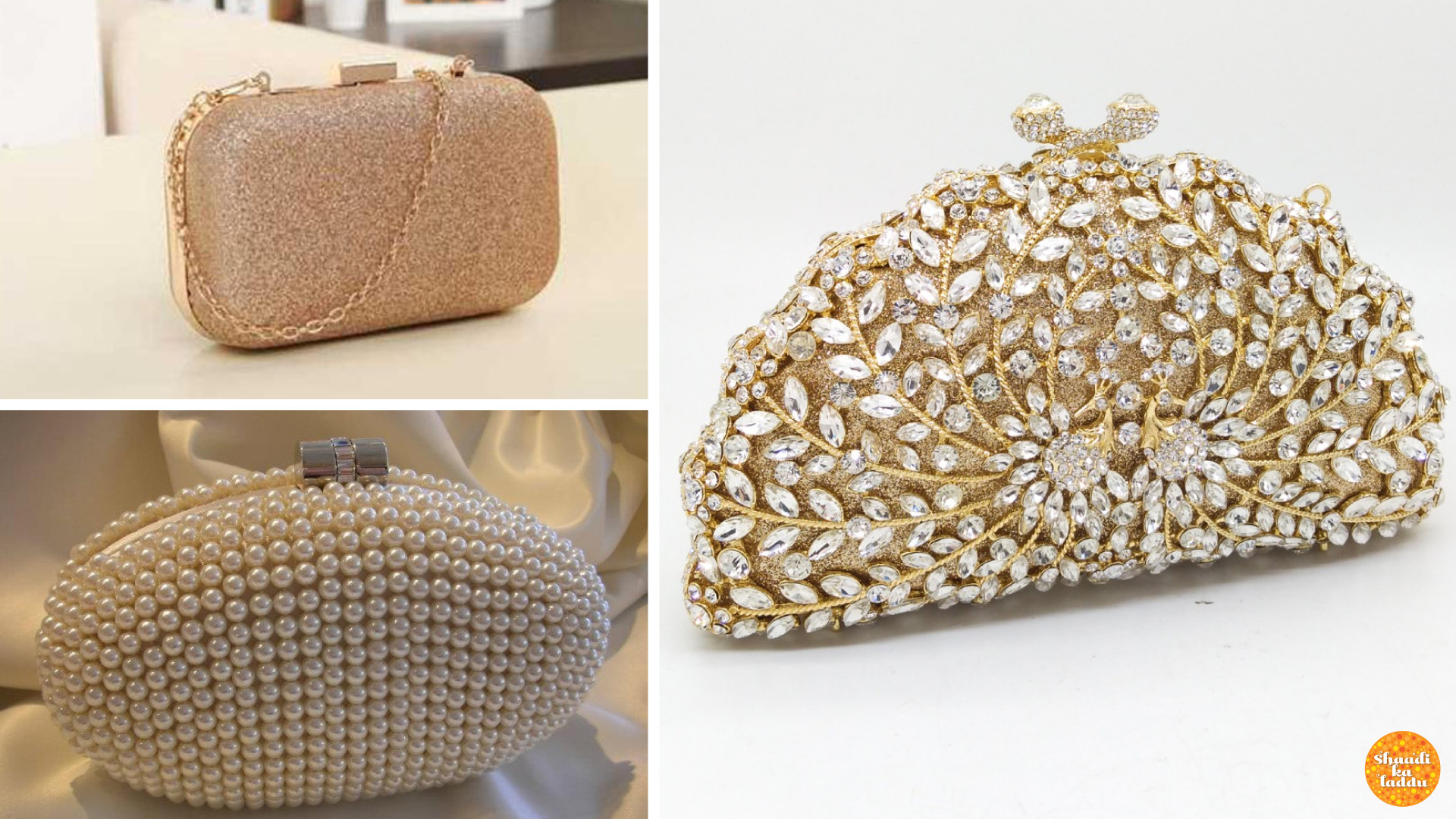 Classy, pearl studded, gem studded party clutches