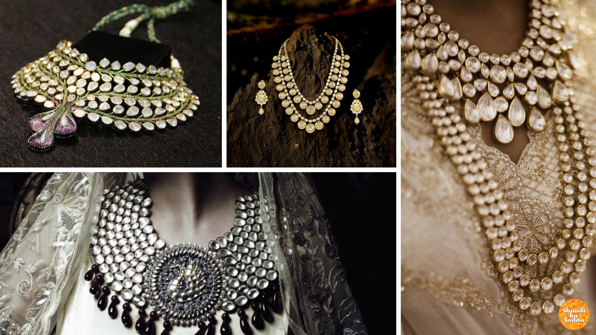 Heavy Kundan necklaces and earrings, Kundan long neckchains, Silver jewellery mixed Kundan gemstones neckpiece